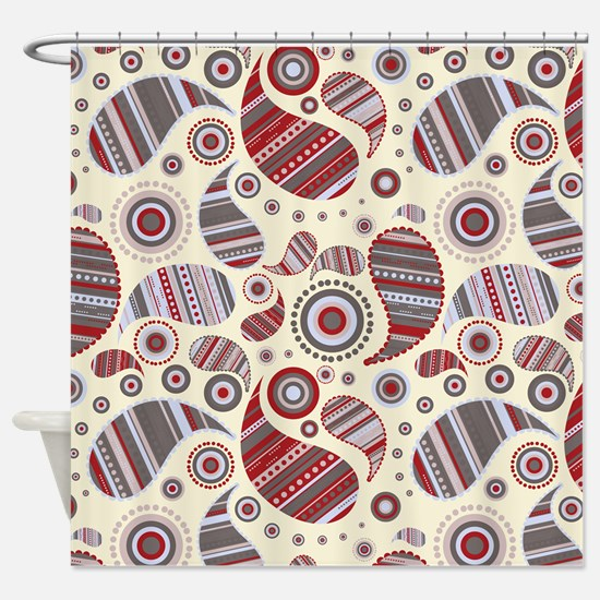 Cranberry Paisley Shower Curtain