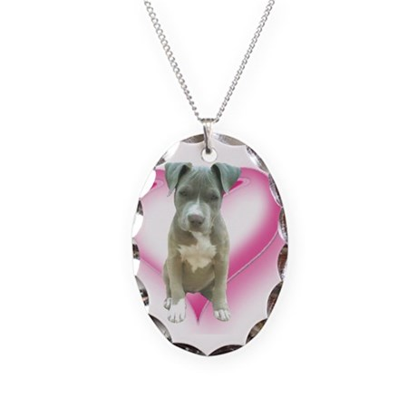 Pitbull puppy Necklace Oval Charm