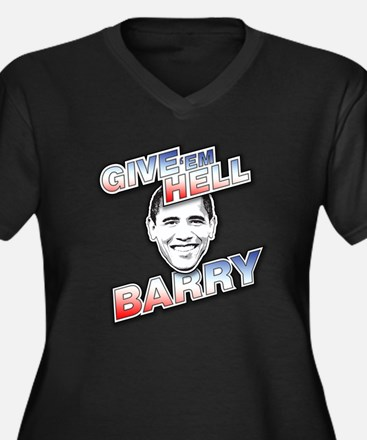 Give 'Em Hell Barry Women's Plus Size V-Neck Dark