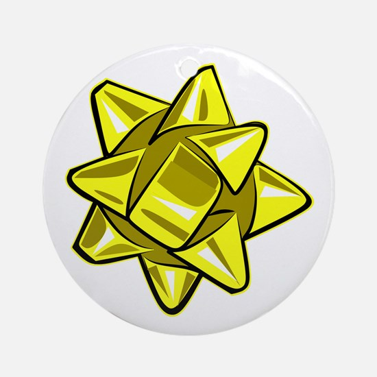 Yellow Bow Round Ornament