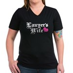 Lawyer's Wife Women's V-Neck Dark T-Shirt