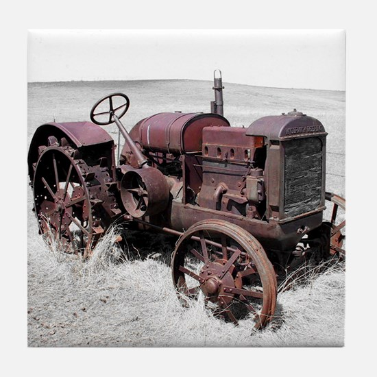 Old, Rusted Tractor Tile Coaster