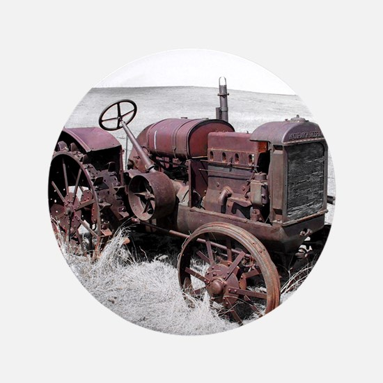 """Old, Rusted Tractor 3.5"""" Button"""