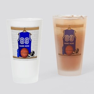 Personalized Basketball Jerse Drinking Glass