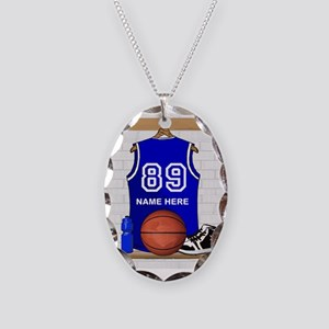Personalized Basketball Jerse Necklace Oval Charm