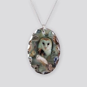Happy Owls Necklace Oval Charm
