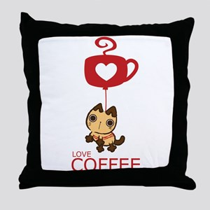 Crazy Cat Loves Coffee Throw Pillow