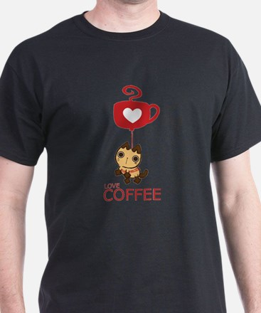 Crazy Cat Loves Coffee T-Shirt