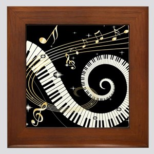 Mixed Musical Notes (black go Framed Tile