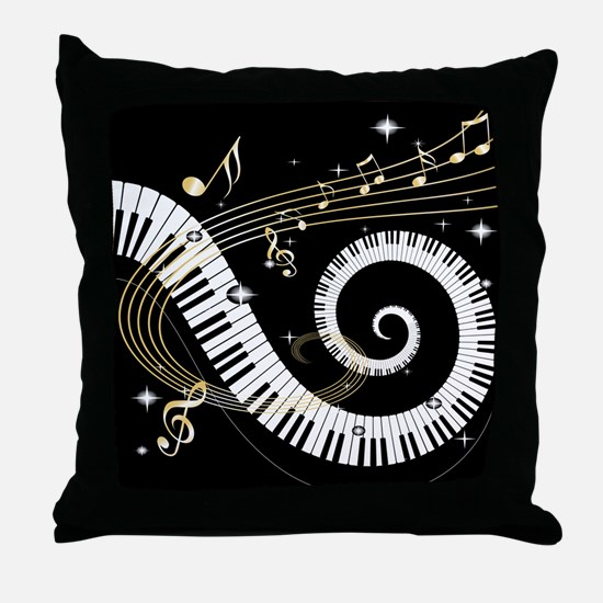 Mixed Musical Notes (black go Throw Pillow