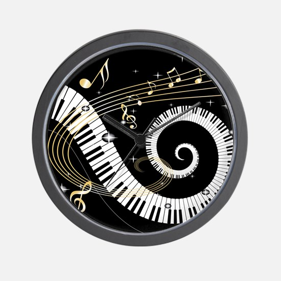 Mixed Musical Notes (black go Wall Clock
