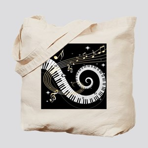 Mixed Musical Notes (black go Tote Bag