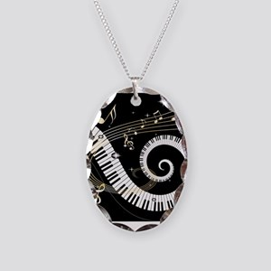 Mixed Musical Notes (black go Necklace Oval Charm
