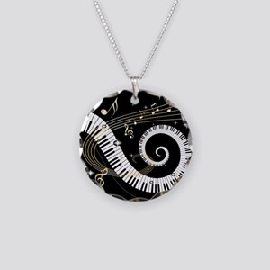 Mixed Musical Notes (black go Necklace Circle Char
