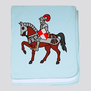 Knight Mounted On Horse baby blanket