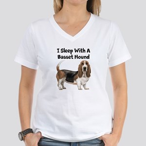 I Sleep With A Basset Hound Women's V-Neck T-Shirt