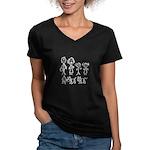 Family Stick People Women's V-Neck Dark T-Shirt