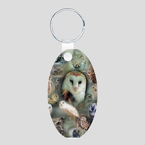 Happy Owls Aluminum Oval Keychain