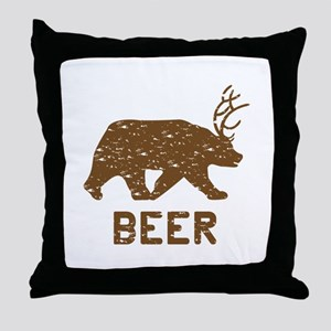 Bear + Deer = Beer Throw Pillow