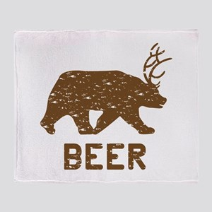 Bear + Deer = Beer Throw Blanket