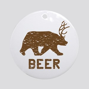 Bear + Deer = Beer Ornament (Round)