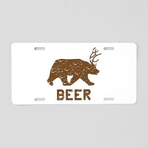 Bear + Deer = Beer Aluminum License Plate