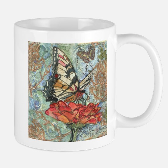 Yellow Butterfly Stainless Steel Travel Mugs