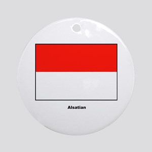 Alsatian Alsace France Flag Ornament (Round)