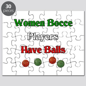 Women bocce players have balls. Puzzle