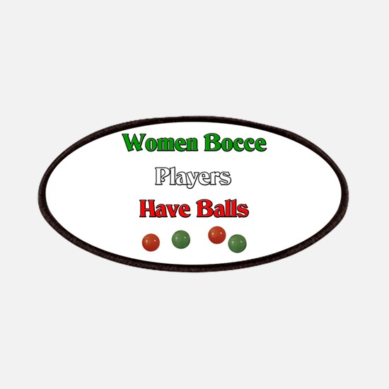 Women bocce players have balls. Patches
