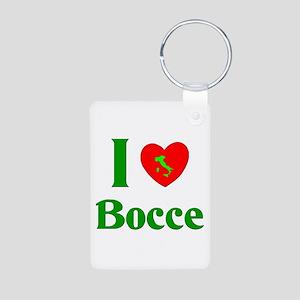 I Love Bocce Aluminum Photo Keychain