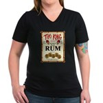 Tiki King Rum Women's V-Neck Dark T-Shirt