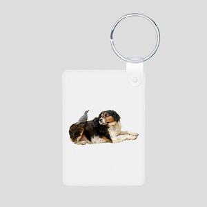 Quail Dog Aluminum Photo Keychain