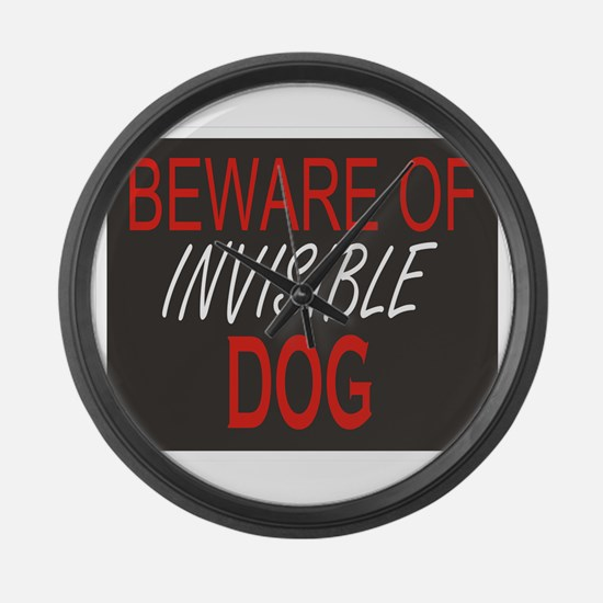 Beware of Invisible Dog Large Wall Clock