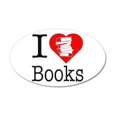 I Heart Books or I Love Books 22x14 Oval Wall Peel