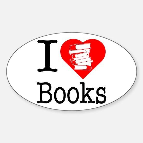 I Heart Books or I Love Books Sticker (Oval)