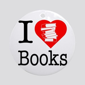 I Heart Books or I Love Books Ornament (Round)