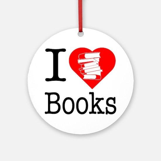 I Heart Books or I Love Books Ornament (Round)