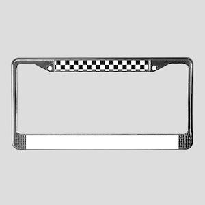 Black White Checkered License Plate Frame