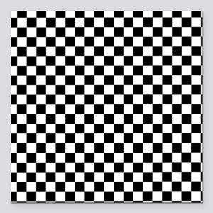 "Black White Checkered Square Car Magnet 3"" x 3"""