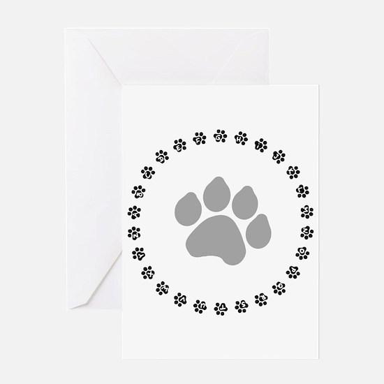 Silver Paw Print Design Greeting Card