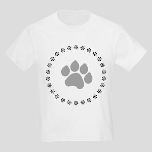 Silver Paw Print Design Kids Light T-Shirt