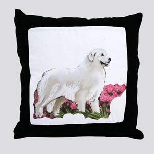 great pyrenees in the garden Throw Pillow