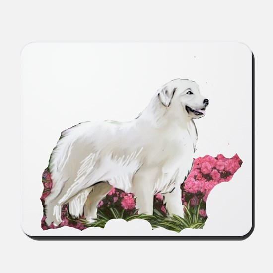 great pyrenees in the garden Mousepad