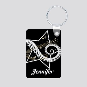 Music star gold black Aluminum Photo Keychain