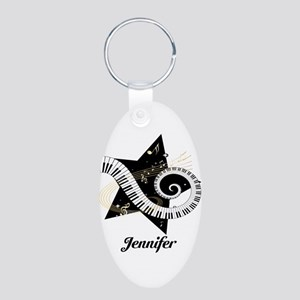 Music star gold black Aluminum Oval Keychain