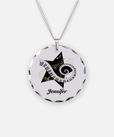 Music star gold black Necklace