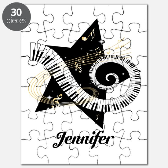 Music star gold black Puzzle
