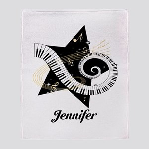 Music star gold black Throw Blanket
