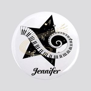 "Music star gold black 3.5"" Button"